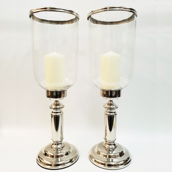 Silver Candle Hurricane Lamps Centrepiece Hire